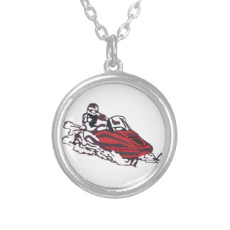Snowmobile Silver Plated Necklace