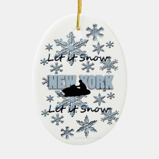 Snowmobile Snow New York  Christmas Ornament