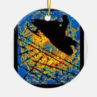 SNOWMOBILE SOUL DRIVE Double-Sided CERAMIC ROUND CHRISTMAS ORNAMENT
