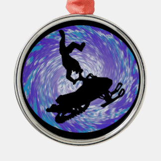 SNOWMOBILE THE TRICKS ROUND METAL CHRISTMAS ORNAMENT