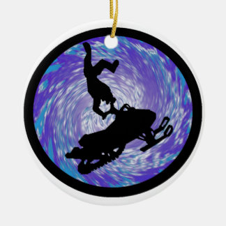 SNOWMOBILE THE TRICKS Double-Sided CERAMIC ROUND CHRISTMAS ORNAMENT