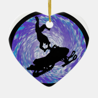 SNOWMOBILE THE TRICKS Double-Sided HEART CERAMIC CHRISTMAS ORNAMENT