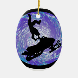 SNOWMOBILE THE TRICKS Double-Sided OVAL CERAMIC CHRISTMAS ORNAMENT