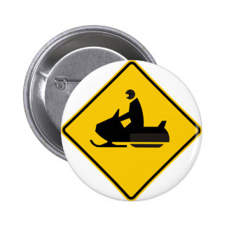 Snowmobile Traffic Highway Sign Pinback Button