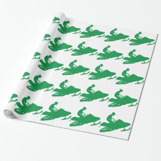 Snowmobile verde papel de regalo