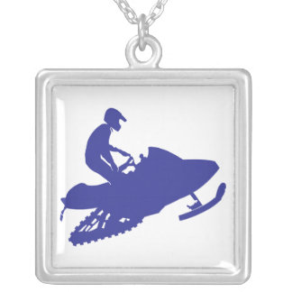 Snowmobiler/Blue Sled Silver Plated Necklace