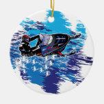 Snowmobiler fresco adorno navideño redondo de cerámica