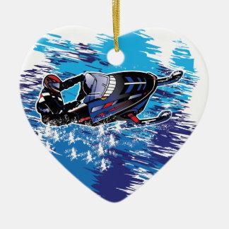 Snowmobiler gráfico adorno de cerámica en forma de corazón