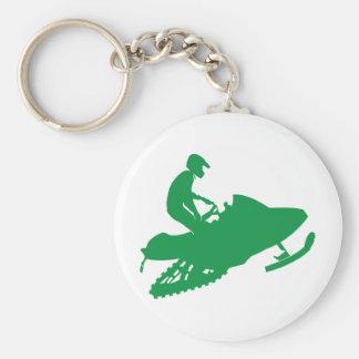 Snowmobiler/Green Sled Basic Round Button Keychain