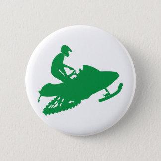 Snowmobiler/Green Sled Pinback Button