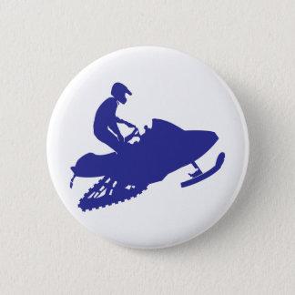 Snowmobiler/Navy Blue Sled Pinback Button