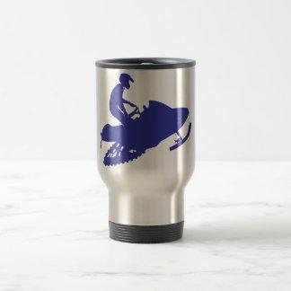 Snowmobiler/Navy Blue Sled Travel Mug