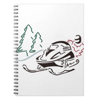 Snowmobiler Pine Trees Notebook