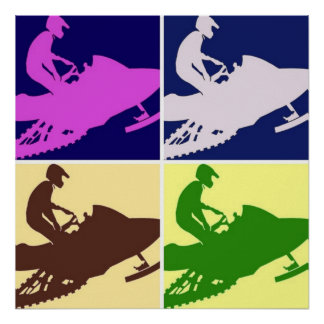 Snowmobiler/Pop Art Poster
