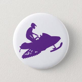 Snowmobiler/Purple Sled Pinback Button