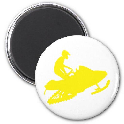 Snowmobiler/trineo amarillo imán para frigorifico