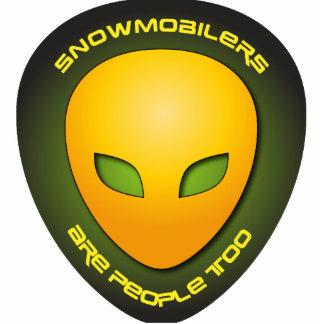 Snowmobilers es gente también esculturas fotográficas