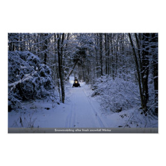 Snowmobiling after fresh snowfall Winter Poster