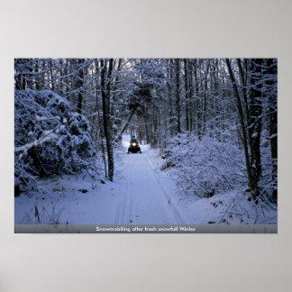 Snowmobiling after fresh snowfall Winter Print