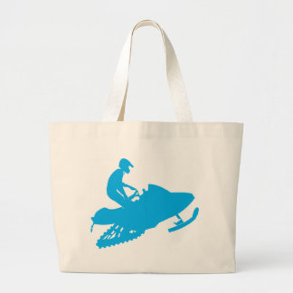 Snowmobiling/Blue Sled Large Tote Bag