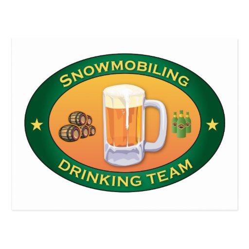 Snowmobiling Drinking Team Postcard