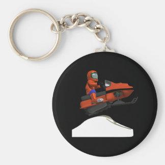 Snowmobiling Jump 2 Basic Round Button Keychain