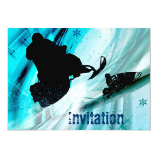 """Snowmobiling on Icy Trails 5"""" X 7"""" Invitation Card"""