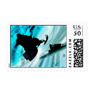Snowmobiling on Icy Trails Postage
