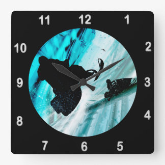 Snowmobiling on Icy Trails Square Wall Clock
