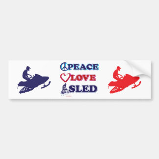 Snowmobiling/Peace,Love,Sled Bumper Sticker