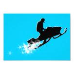 snowmobiling : powder trail 3.5x5 paper invitation card