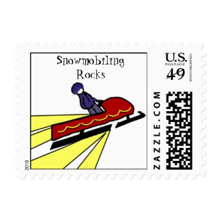 Snowmobiling Rocks Postage Stamp