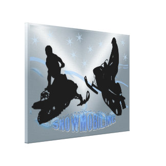 Snowmobiling - Snowmobilers 24x 18 Wrapped Canvas