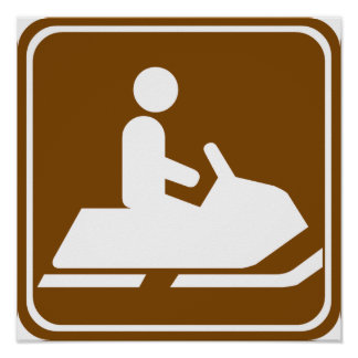 Snowmobiling Trail Highway Sign Posters