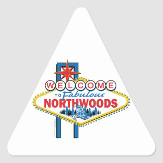 Snowmobiling Welcome to the Fabulous Northwoods Triangle Sticker