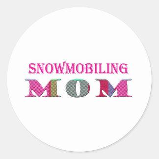 SnowmobilingMom Classic Round Sticker
