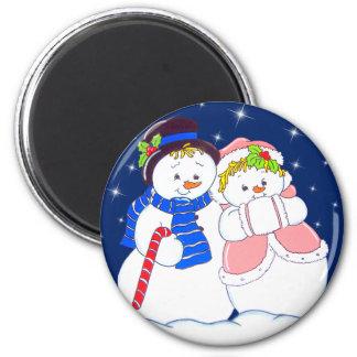Snowpeople1 Imán Redondo 5 Cm