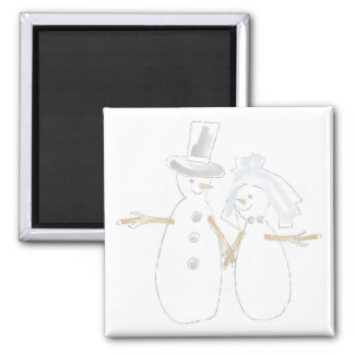 Snowpeople Bride and Groom 2 Inch Square Magnet