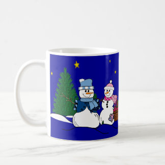 Snowpeople in the snow coffee mugs
