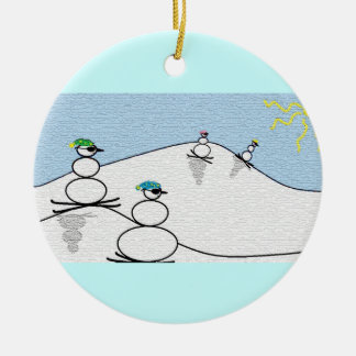 Snowpeople Skiing Double-Sided Ceramic Round Christmas Ornament