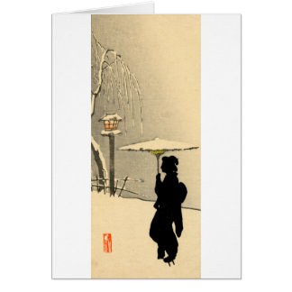 Snowscape and Japanese Geisha no.2 Card