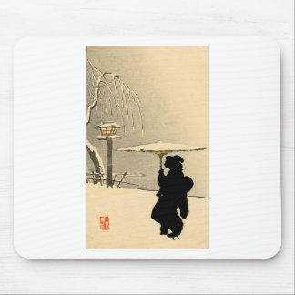 Snowscape and Japanese Geisha no.2 Mousepad