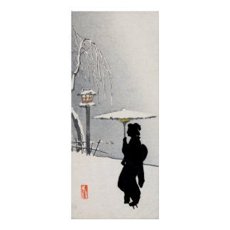 Snowscape and Japanese Geisha Poster