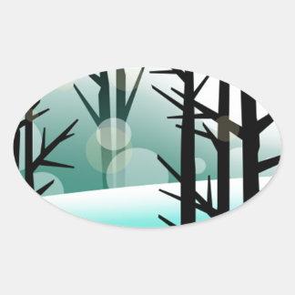 Snowscape Pegatina Oval Personalizadas