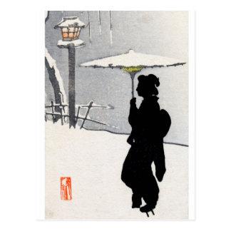 Snowscape y geisha japonés tarjetas postales