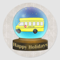 Snowsglobe school bus Christmas Gifts Classic Round Sticker