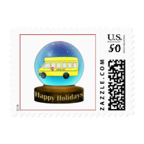 Snowsglobe school bus Christmas Gifts Postage