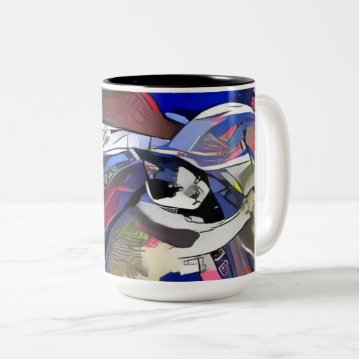 snowshoe afterdark kitty Two-Tone coffee mug