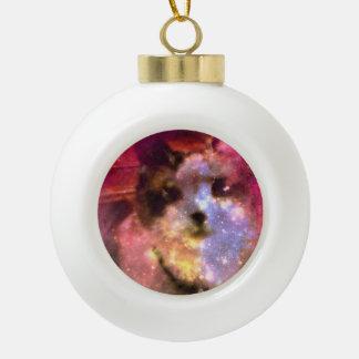 snowshoe aurora borealis kitty ceramic ball christmas ornament