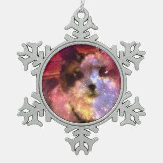 snowshoe aurora borealis kitty snowflake pewter christmas ornament